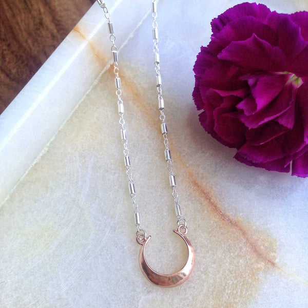 Aree - Rose Gold and Sterling Silver Crescent Moon Necklace
