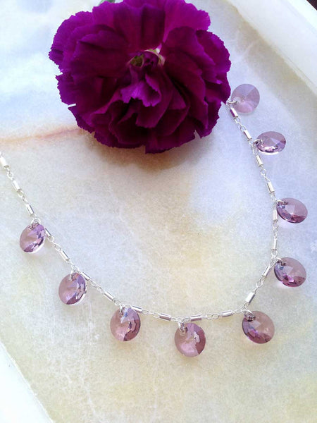 Gia in Sterling Silver with Pink Swarovski Crystals