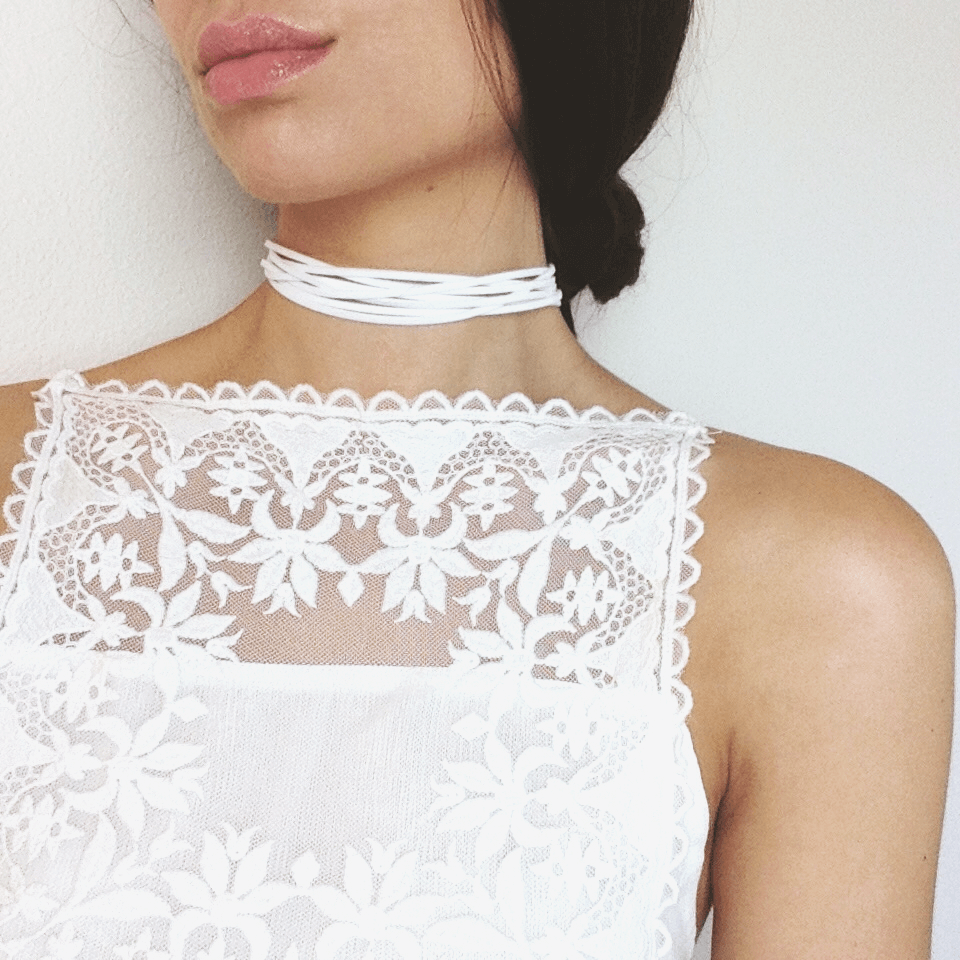 Amilia - White Faux Leather Woven Choker