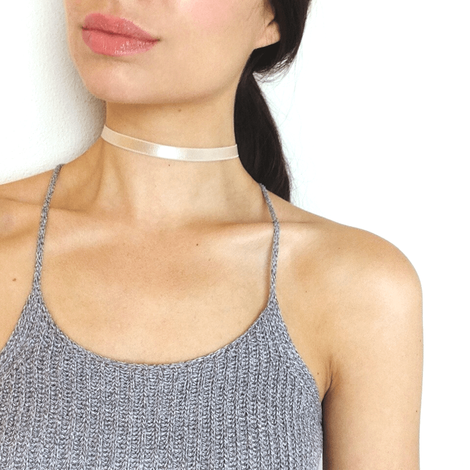 Celina - Thin Nude Satin Stretch Choker