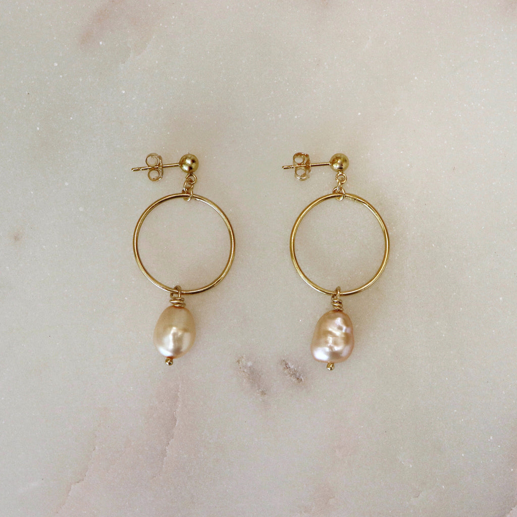 MOVV - Fia Gold Filled Pearl Drop Hoop Earring