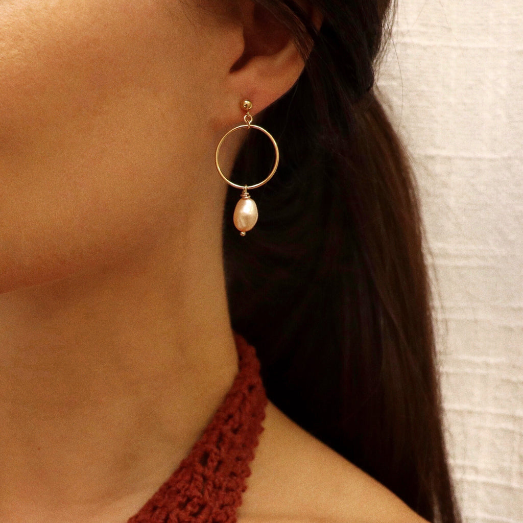 Fia Gold-Filled Pearl Drop Hoop Earring