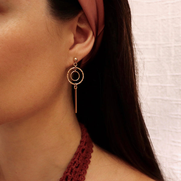 MOVV - Sienna Gold Filled Drop Hoop Earrings