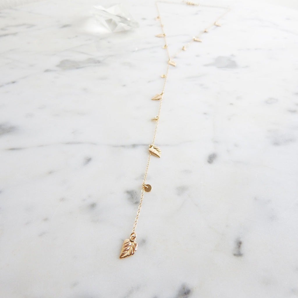 Eva - 14k gold filled delicate lariat necklace with leaf charms - flatlay