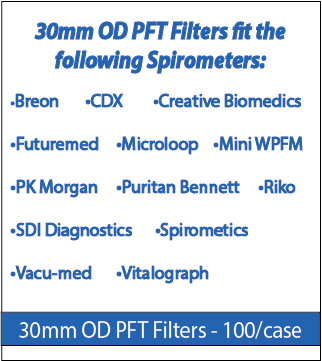 30 mm OD PFT Filters for Spirometers