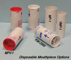 Adult Disposable Mouthpieces for M-200 Mini Wright Peak Flow Meter - Bags of 50 with 1-way Valve (MPV-3)
