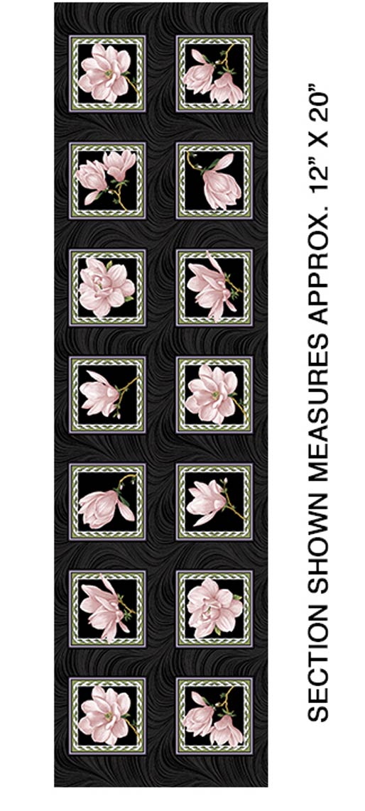 Accent On Magnolias Magnolia Blooms Blocks Panel Coral/Black