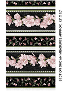Accent On Magnolias Magnolia Blooms Stripe Black/Coral
