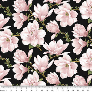 Accent On Magnolias Magnolia Blooms Allover Cream/Coral