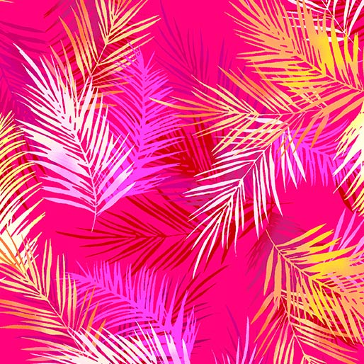 Tropical Breeze Island Palm Leaves Pink