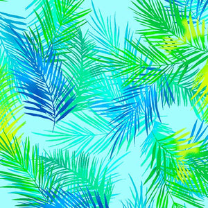 Tropical Breeze Island Palm Leaves Turquoise