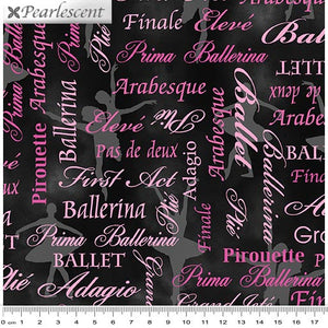Pearl Ballet Words Pink/Black Pearlescent