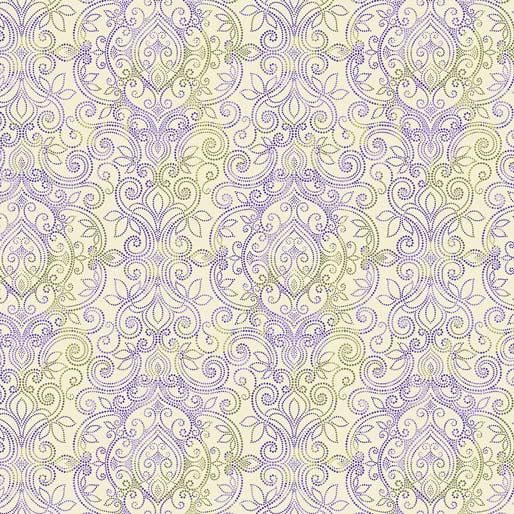 Accent on Pansies Dotted Damask Cream/Multi