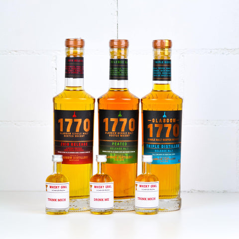 Glasgow Distillery 1770 Whisky Set of 3