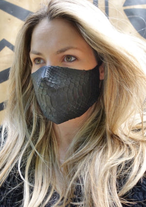 FACE MASK Leather Black Croc Medium