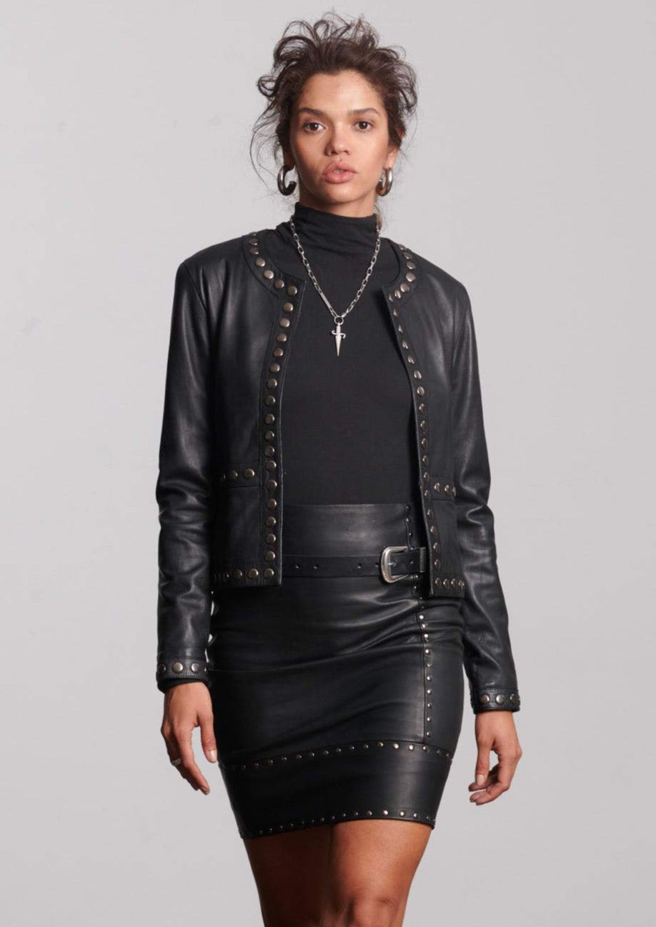 R I V E T  Leather Skirt