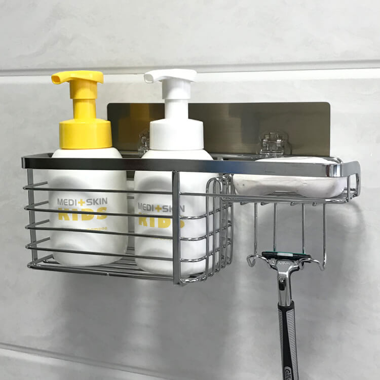 Drill Free Bathroom Shelf With Razor Holder