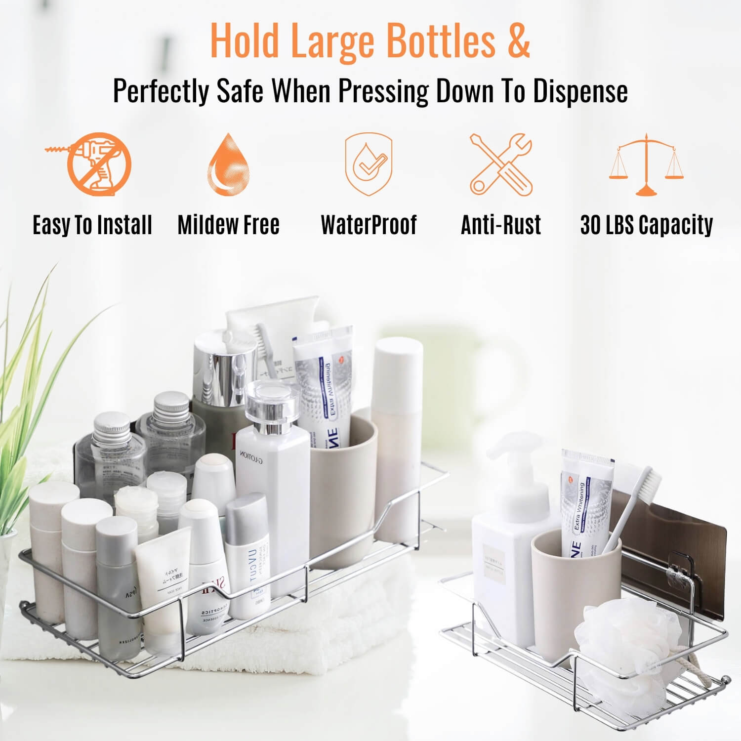 ($15 OFF Each Today) Drill Free Stainless Steel Caddy