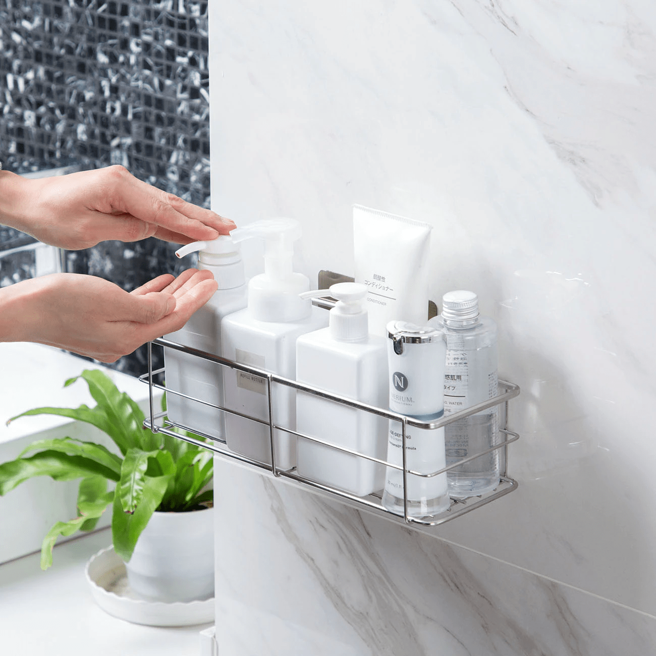 Drill Free Bathroom Shelf