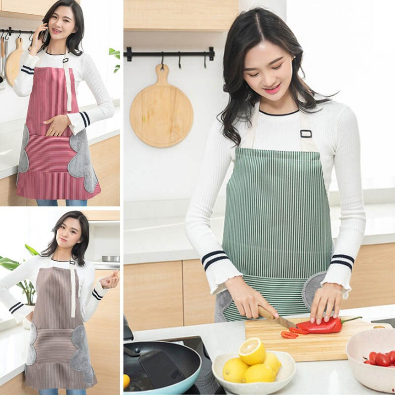 Stain Proof Kitchen Aprons with Hand Wipes