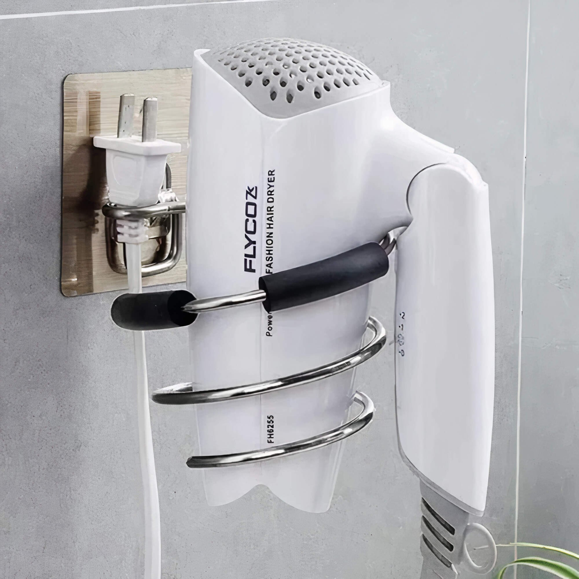 Drill Free Hair Dryer Holder