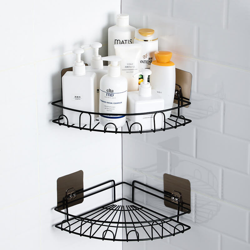 Drill Free Corner Shower Caddy With Hooks