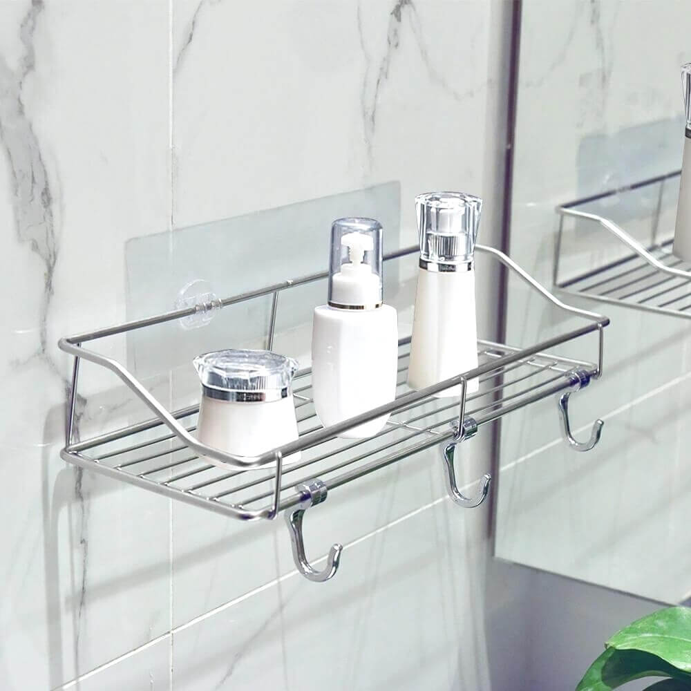 ($15 OFF Each Today) Drill Free Shower Caddy With Hooks