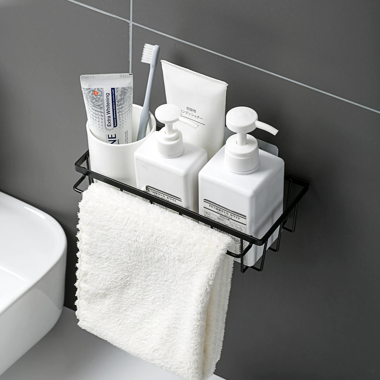 Drill Free Shower Caddy With Towel Holder