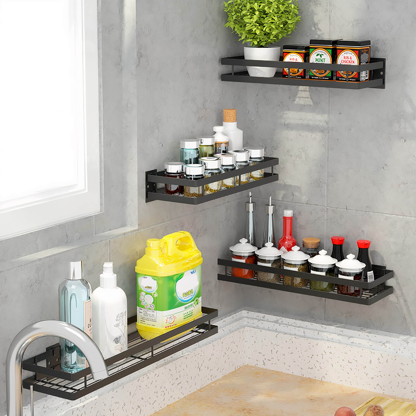 Wall Mounted Kitchen Organization Shelves