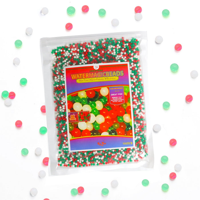 Water Beads Colorful Floral Gel Pearl Balls for Vase, SPD Or Sensory Exploration (Christmas)