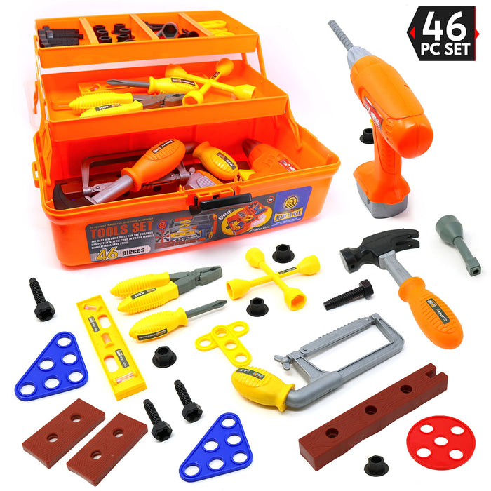 Tool Box - Pretend Play Three Tier Educational Tool Kit for Kids Gift of All Ages - 46 Piece Set