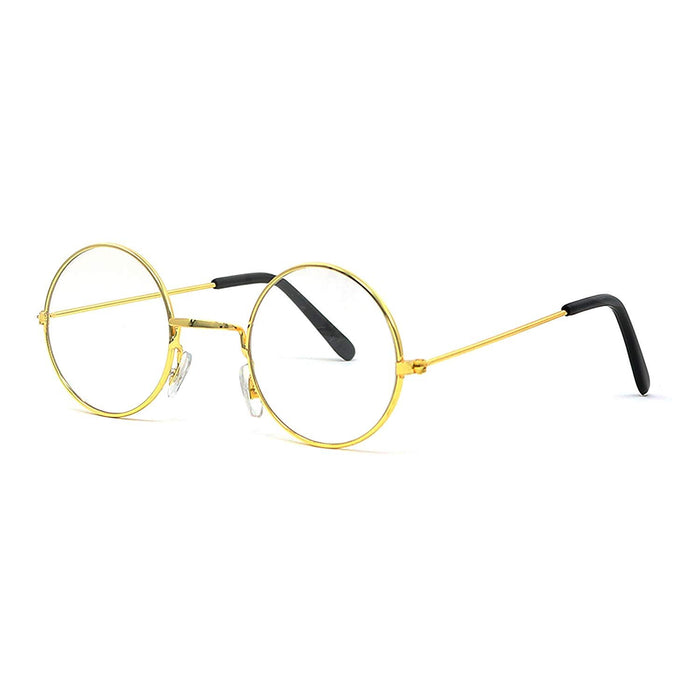 Gold Wire Rimmed Round Costume Glasses, 1 Pair.
