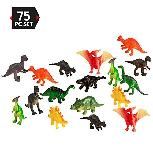 75 piece party pack mini dinosaurs - plastic mini educational dinosaur animal toys - fun gift party