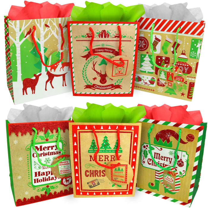 Gift Bags - Holiday Paper Gift And Goody Bag With Christmas Glitter Designs - 6 Pack