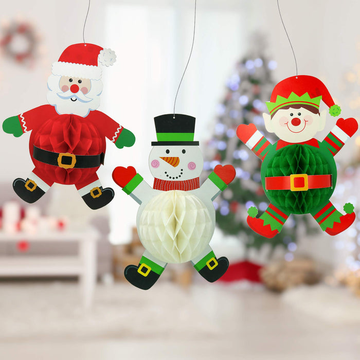 Santa Jester and Snowman Honeycomb Christmas Home Decor - 3 Pieces