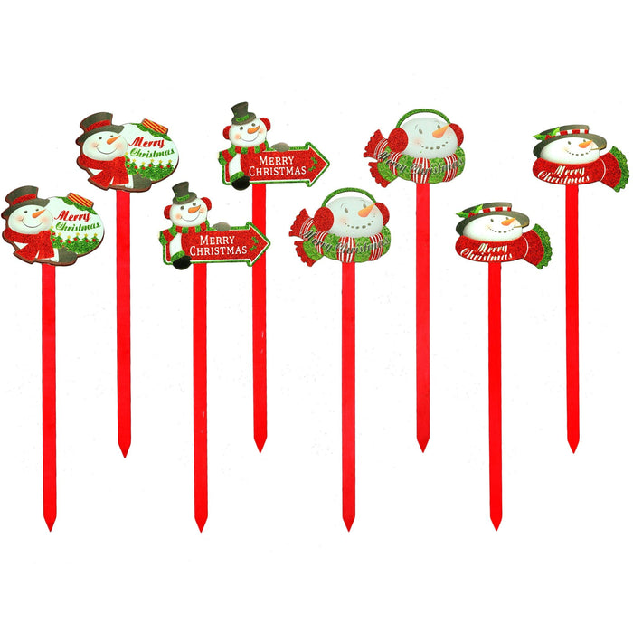 Yard Stakes - Christmas Holiday Glittered Snowman Decorations Outdoor Lawn Signs Display Stakes For Christmas - Lot of 8