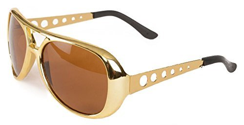 Toys Rockstar 50s, 60s Style Aviator Shades, Gold Celebrity Sunglasses 1 Pair