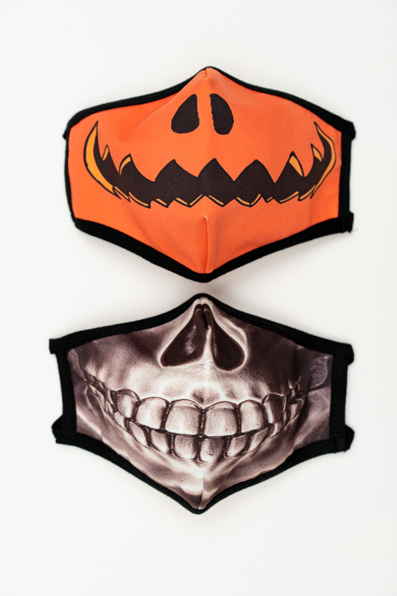 Halloween Skeleton and Pumpkin 2 Pack Masks