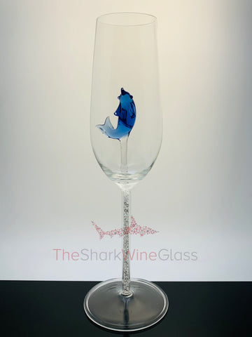 The Dolphin Champagne Flute™ Embellished w Swarovski Crystals in the Stem - Featured On Delish.com