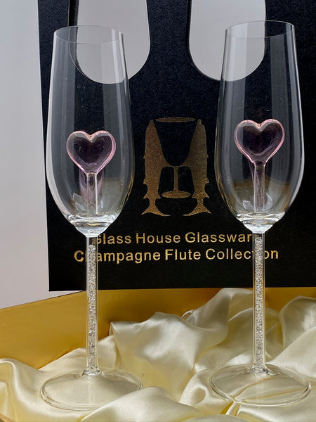Two Heart Champagne Flutes™ with Swarovski™ Crystals in the Stem in a Beautiful Gift Box
