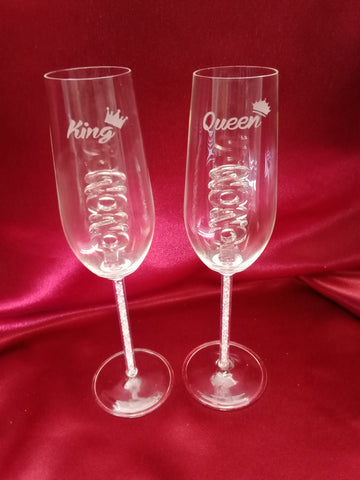 2020 King & Queen Custom Engraved Champagne Flute Set