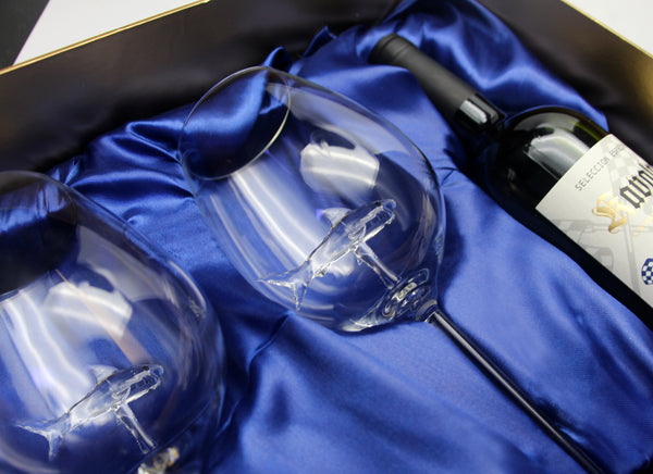 Special Edition Two Shark Wine Glasses™ in a Beautiful Gift Box w/ opening for a Bottle of Wine