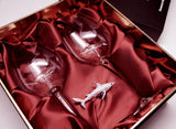 Limited Edition - Swarovski™ Shark Ornament with Two Shark Wine Glasses™ in a Beautiful LED Gift Box