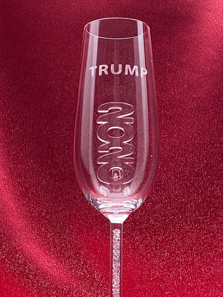 NEW - 2020 TRUMP Champagne Flute™ Embellished with Swarovski™ Crystals and Custom Etched
