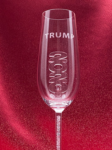 NEW - 2020 T Champagne Flute™ Embellished with Swarovski™ Crystals Custom Etched as Shown