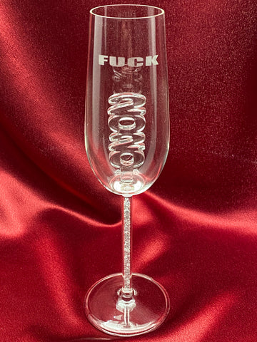 F 2020 Champagne Flute custom etched as shown