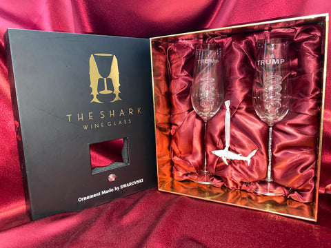 Limited Edition - Swarovski™ Shark Ornament w Two 2020 Trump Champagne Flutes™ in a Beautiful LED Gift Box