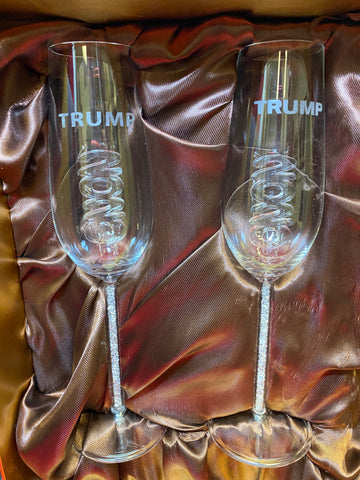 2020 Trump Champagne Flute Set Custom Etched as Shown w/ Opening for a Bottle of Champagne