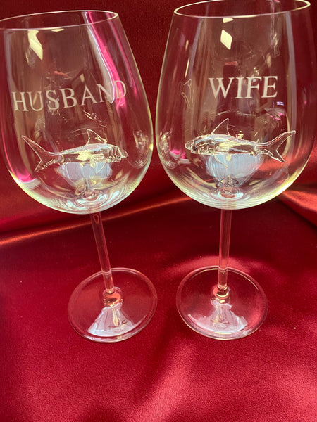 Husband & Wife Stemmed Wine Glass Set w/ Opening for Bottle of Wine