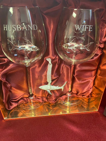 Limited Edition - Swarovski™ Shark Ornament with Custom Engraved Husband and Wife Shark Wine Glasses in a Beautiful LED Gift Box